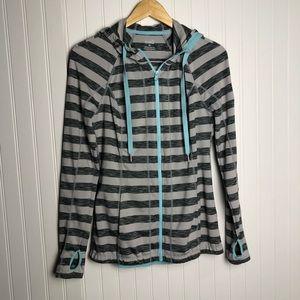 Lukka athletic striped zip up hoodie jacket blue